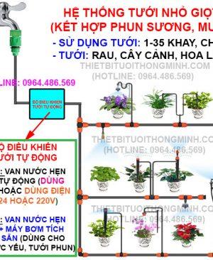 hệ thống tưới cây nhỏ giọt tự động tưới rau, tưới cây cảnh