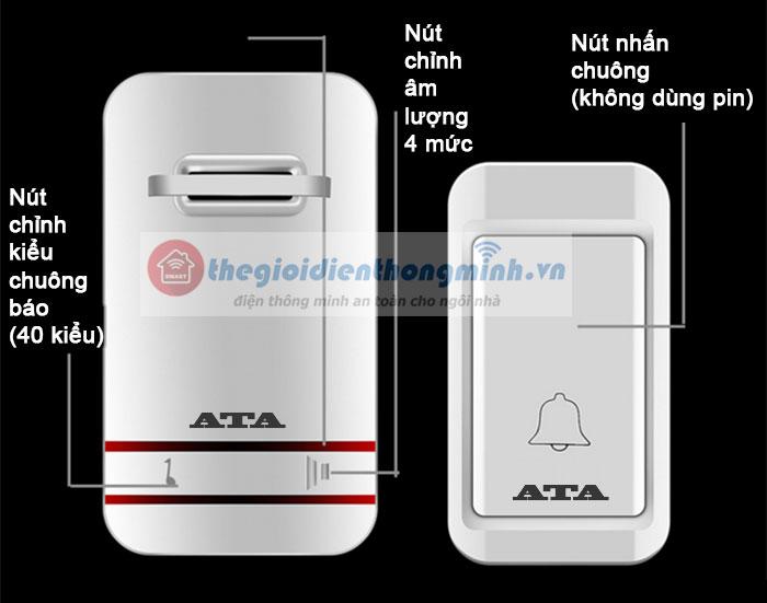 thông số chi tiết chuông cửa không dây cao cấp ATA AT919 không dùng pin