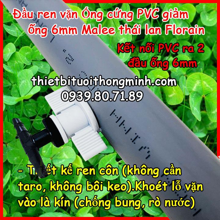Đầu ren vặn kết nối ống cứng PVC giảm 2 đầu ống 6mm