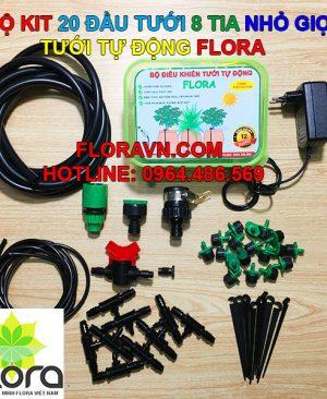 Bộ tưới tự động FLORA 20 béc 8 tia phun nước, nhỏ giọt