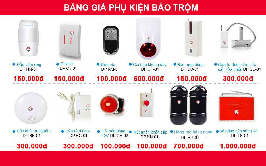 bảng giá phụ kiện hệ thống chống trộm qua điện thoại